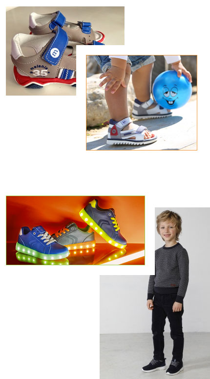 Impronta scarpe per bambini sneaker e sandali